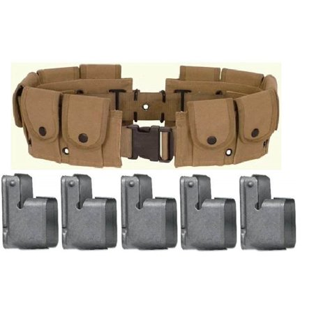 Ultimate Arms Gear M1 Garand Rifle U S  Military WWII Reproduction Khaki  Tan 10 Pocket Belt + Pack Of 5 M-1 Garand 5 Shot En Bloc Speed Loading Clip