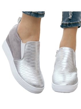 Women's Platform Zipper Wedge Sneakers Slip On Trainer Casual Shoes