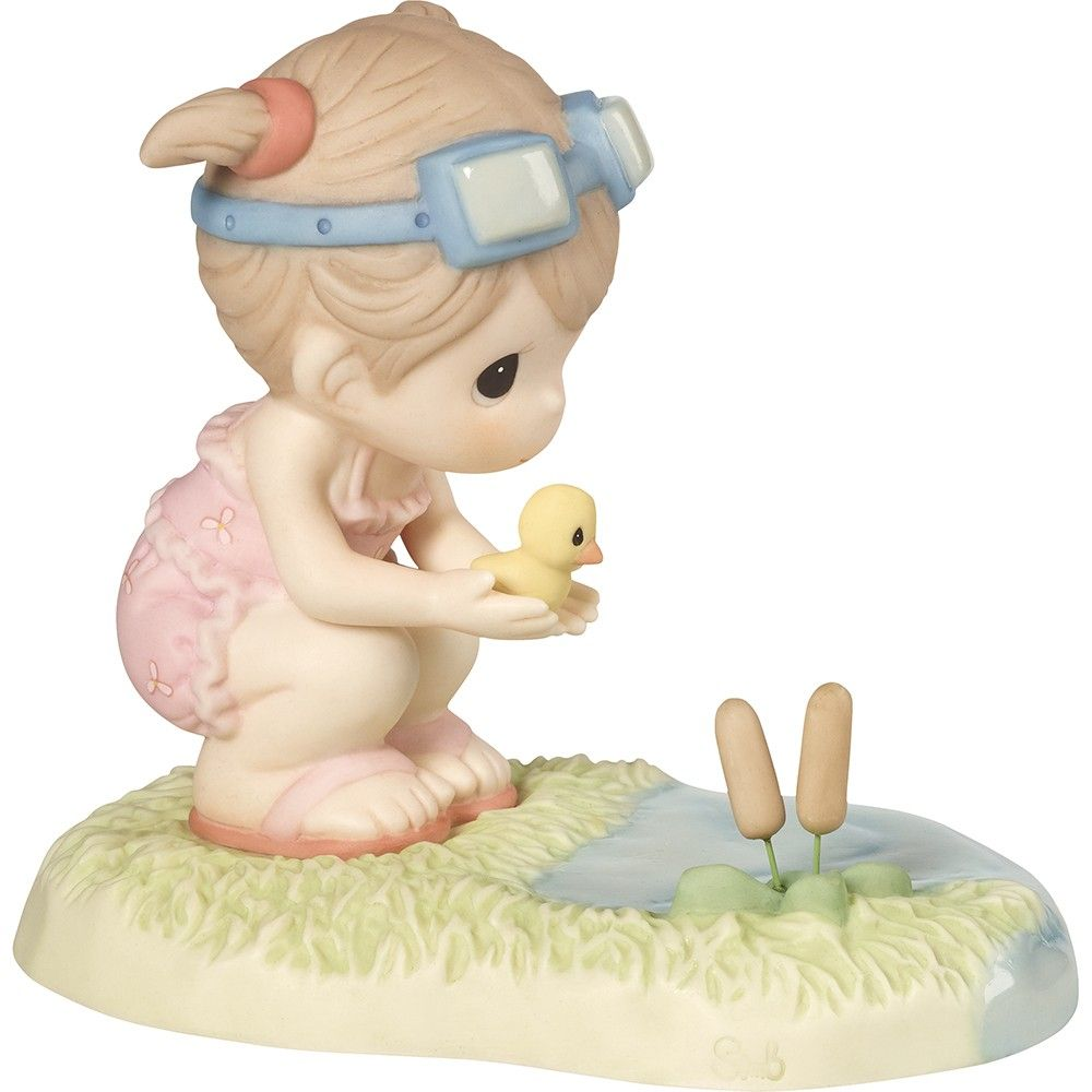 Precious Moments 172016 When You Go Through Deep Waters I Will Be With You - Girl In Swim Gear Helping Duckling Swim Figurine