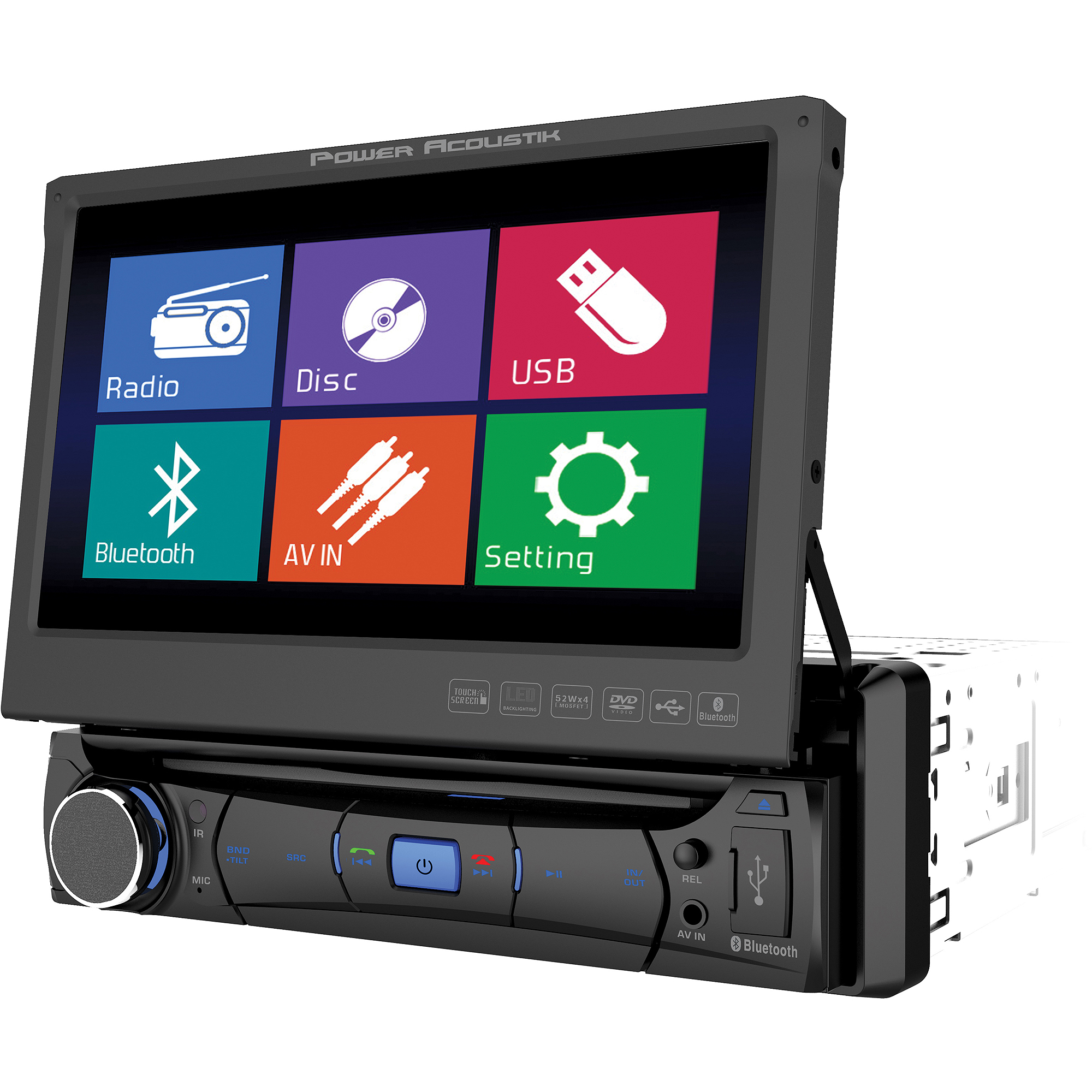 "Power Acoustik PD-701B, Single Din Mobile 8 Multimedia Source Unit with 7"" Flip-Up LCD Touch Screen"