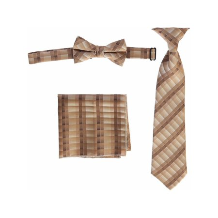 Boys Brown Plaid Striped Tie Bow Tie Pocket Square 3 Pc Accessory Set