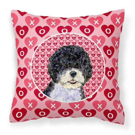 Portuguese Water Dog Hearts Love Valentine s Day Fabric Decorative Pillow SS4490PW1414 - Walmart.com