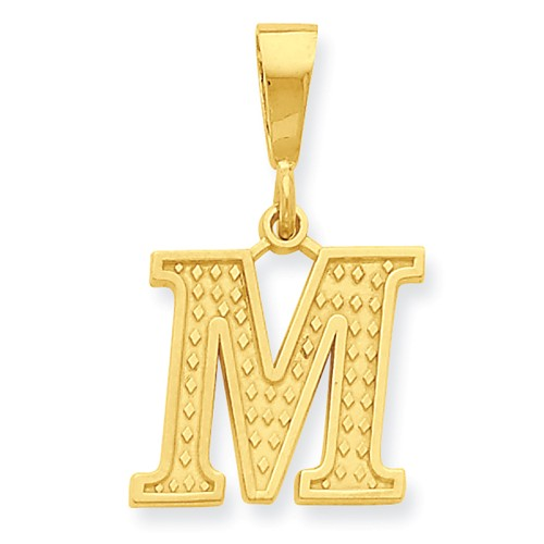 14k Yellow Gold Initial M Charm Pendant