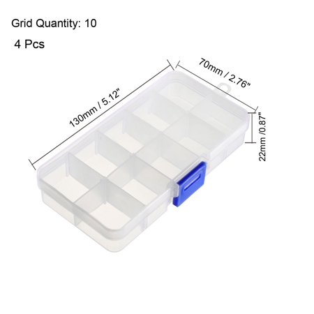 Component Storage Box - PP Adjustable 10 Grids Electronic Component Containers Tool Boxes Clear White 130x70x22mm 4 Pcs - image 3 of 4