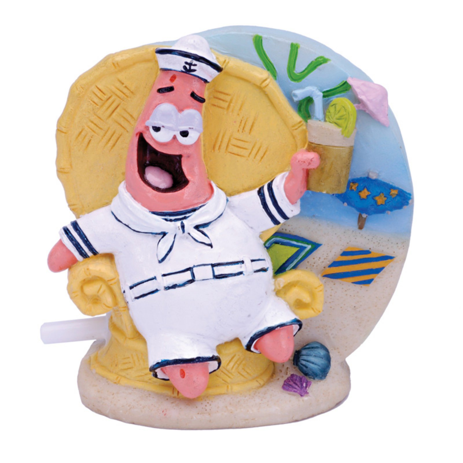 Penn Plax SpongeBob Patrick in Tiki Lounge Chair  Aquarium Figure