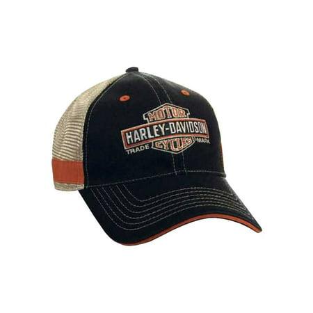 Men's Embroidered Long Bar & Shield Mesh Trucker Cap BCC31212, Harley Davidson