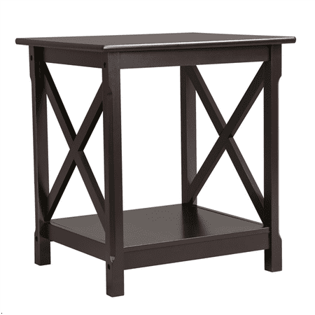 X Design Wood Coffee Side End Table with Storage Shelf for Living Room  (Espresso, Rustic)