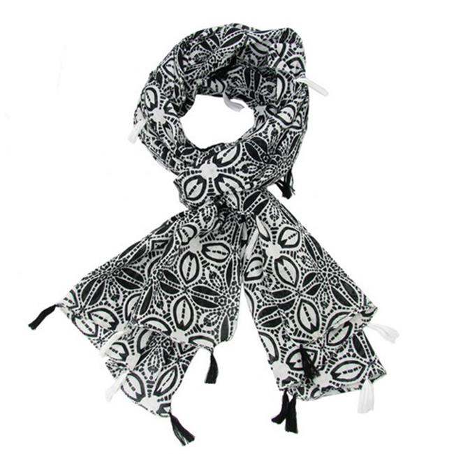 WorldFinds Symmetry Scarf with Tassels, Black & White