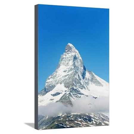Paraglider Flying Near the Matterhorn, 4478M, Zermatt, Valais, Swiss Alps, Switzerland, Europe Stretched Canvas Print Wall Art By Christian Kober
