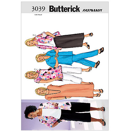 Butterick Pattern Women's and Women's Petite Shirt, Top, Tunic, Dress, Skirt and Pan, (28W, 30W, 32W)