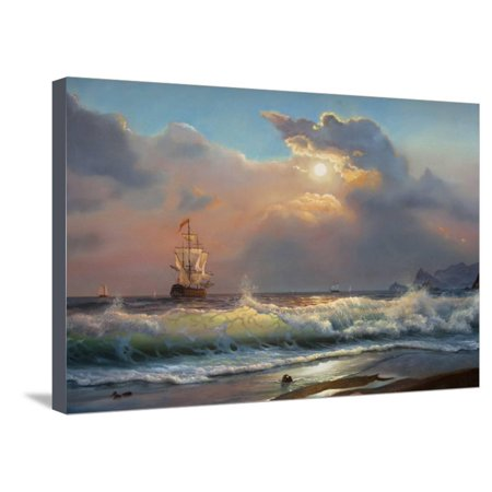 Oil Painting On Canvas , Sailboat Against A Background Of Sea Stretched Canvas Print Wall Art By Lilun Sea Ray Boat Canvas