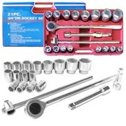 "21 Piece Socket Jumbo Ratchet Set SAE 3/4"" Drive Standard Tools With Case"