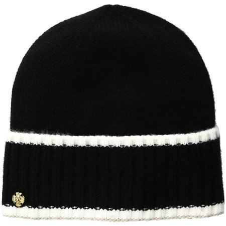 AK Anne Klein Women's Cuffed Hat With Tipping, Black, One Size