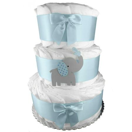 Elephant 3 Tier Diaper Cake Baby Shower Centerpiece Blue And