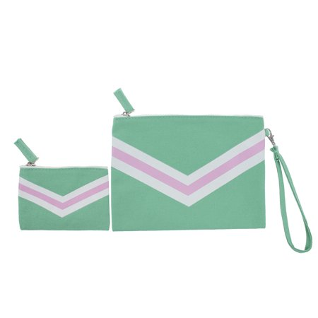 Women V Pattern Canvas Cotton Makeup Bag Wristlet Clutch Pencil Pouch Coin Purse Card Holder Multi-use Bag - Set of 2 (Green)