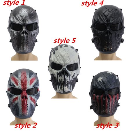 Airsoft Elfeland Tactical Gear Mask Overhead Skull Skeleton Safety Guard Face Protection Outdoor Paintball Hunting Cs War Game Combat Protect for Party Movie Props Sports Activity (Cycle Products Skull Face Mask)