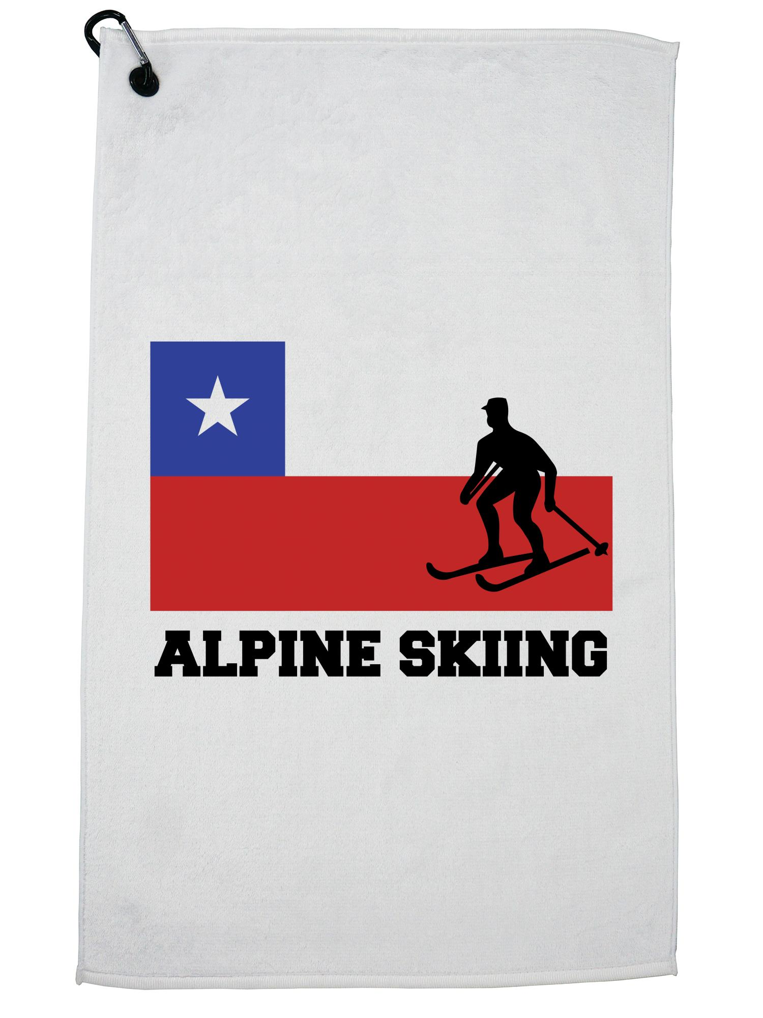 Chile Olympic Alpine Skiing Flag Silhouette Golf Towel with Carabiner Clip by Hollywood Thread