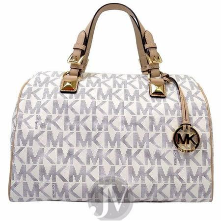 329f135d5c23 MICHAEL KORS - Michael Kors Grayson Navy White MK Logo PVC Large Satchel Bag  - Walmart.com