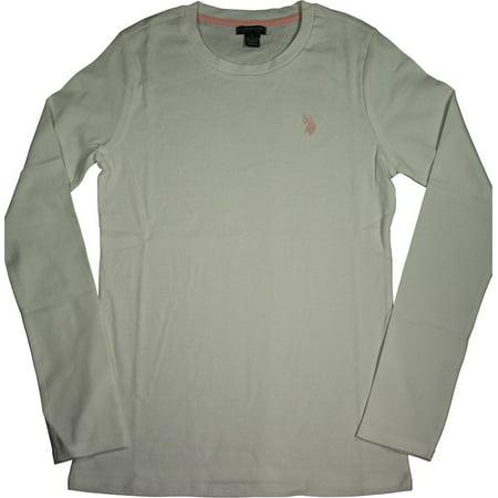 U.S. Polo Assn Junior Womens Long Sleeve Rib T Shirt Tee, 40521 Optic White / -