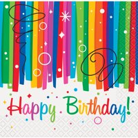 Rainbow Birthday Party Beverage Napkins, 16ct