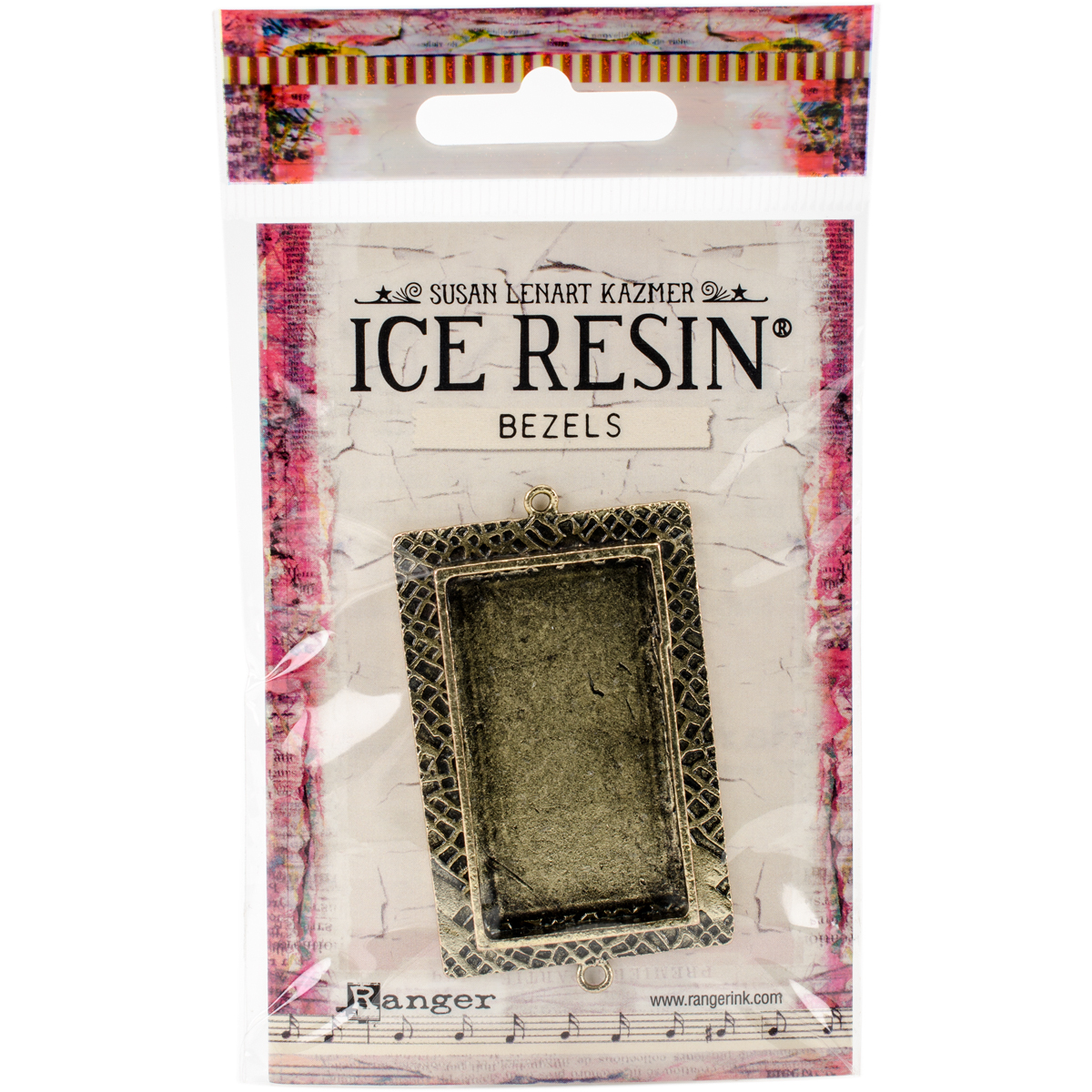 Ice Resin Milan Bezels Closed Back Rectangle Large-Antique Bronze