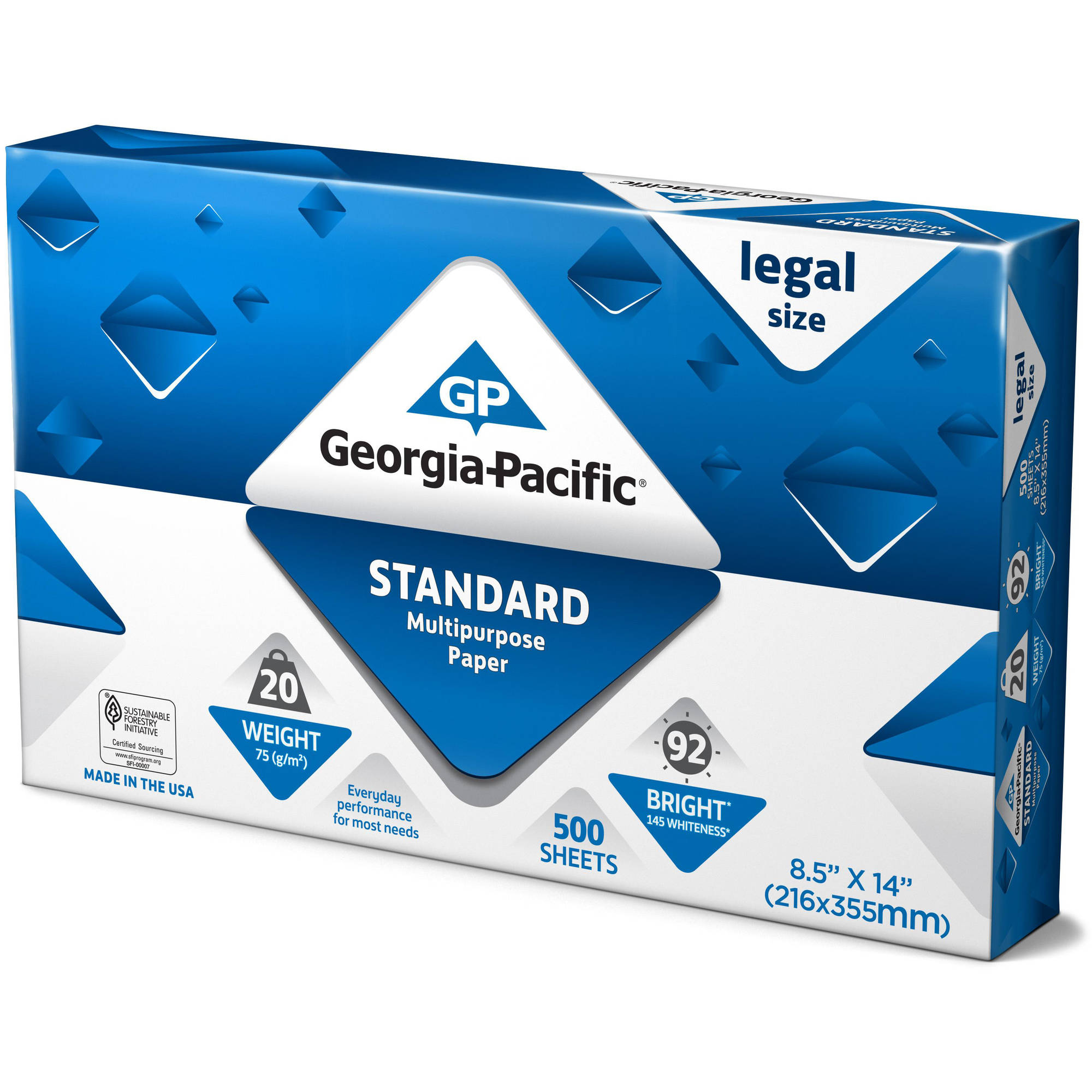 "Georgia-Pacific Standard Multipurpose Legal Paper, 8.5"" x 14"", 20lb, 92 Brightness, 500 Sheets"