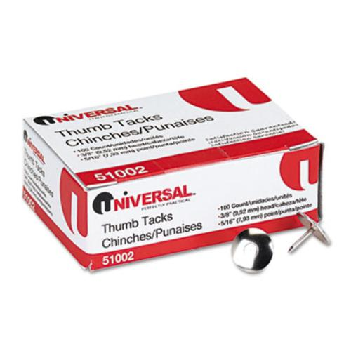 Universal Nickel-Plated Thumb Tacks, 5/16'' Point, Silver, 100 per Pack                                                                  (Set of 6) (Set of 3)