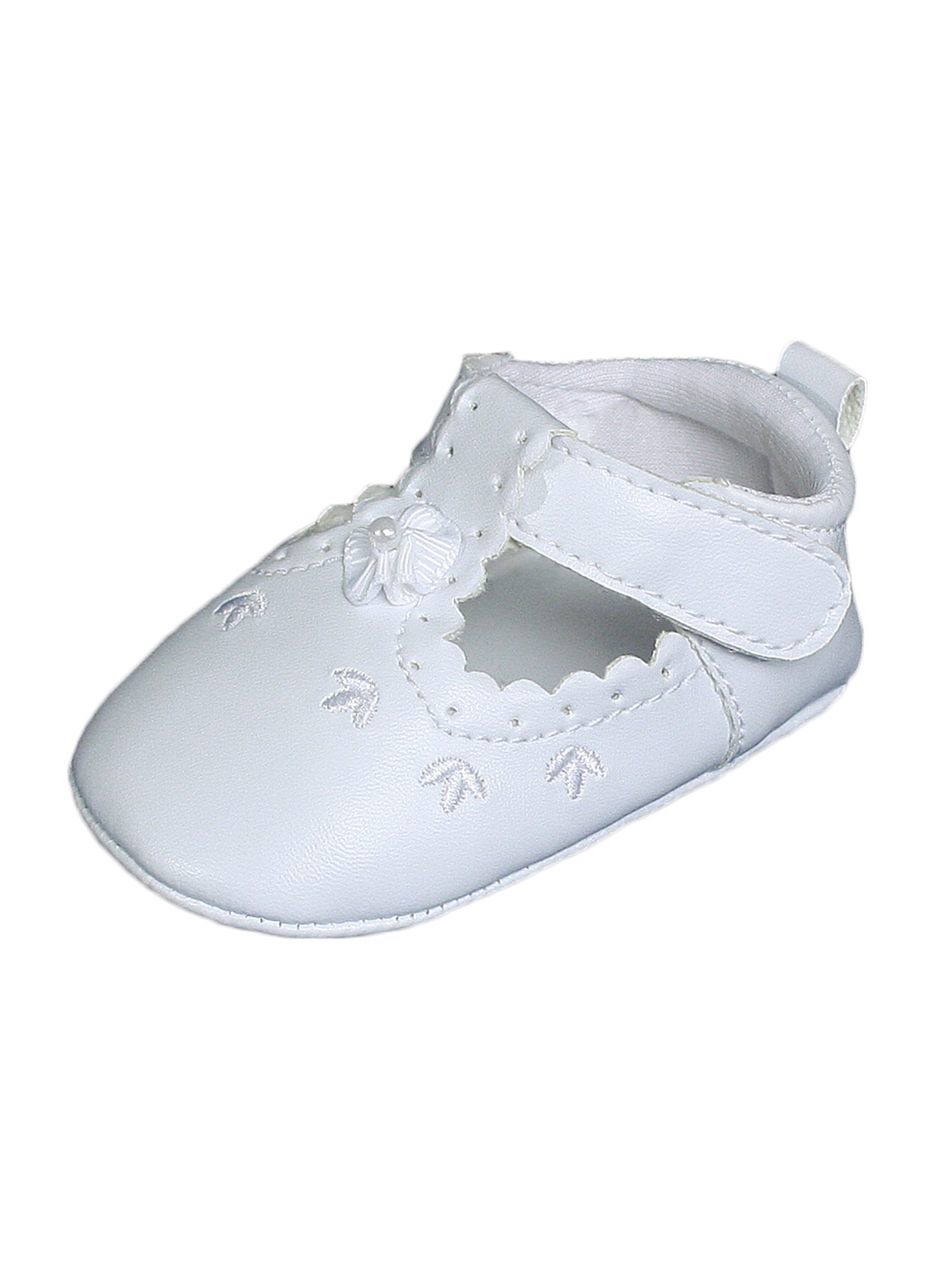 Little Things Mean A Lot Baby Girls All White Faux Leather Mary Jane Crib Shoe with Perforation Accents