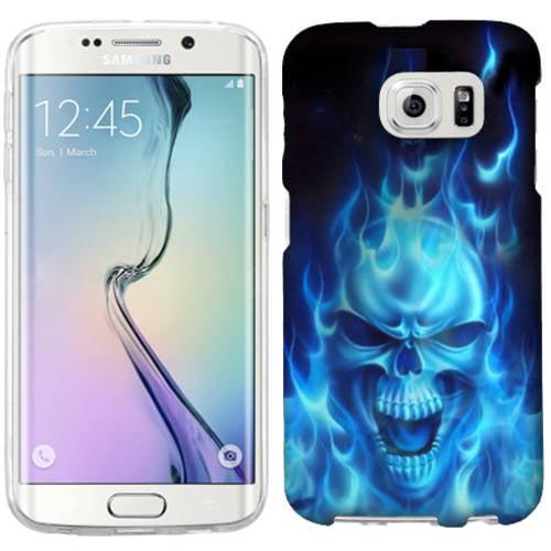 Mundaze Blue Flaming Skull Phone Case Cover for Samsung Galaxy S6 edge+