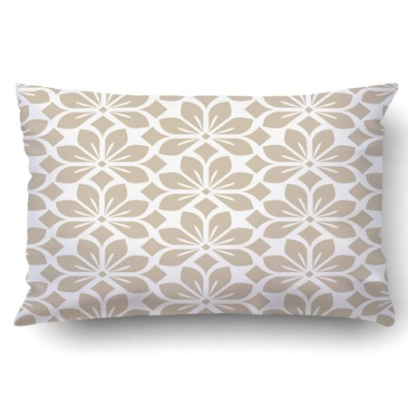 - ARTJIA Abstract floral leaf beige and white Pillowcase Throw Pillow Cover Case 20x30 inches