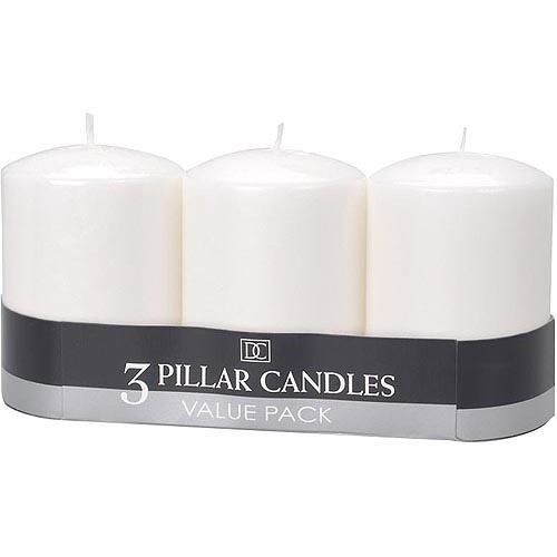 "3"" x 4"" White Pillar Candles, 3-Pack"