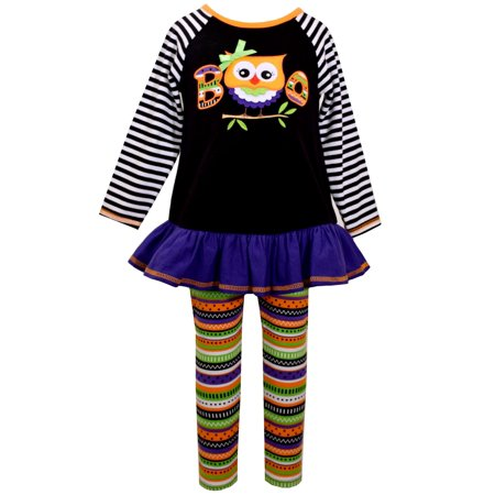 Bonnie Jean Liitle Girls Striped Boo Owl Halloween Pant Set 12 months
