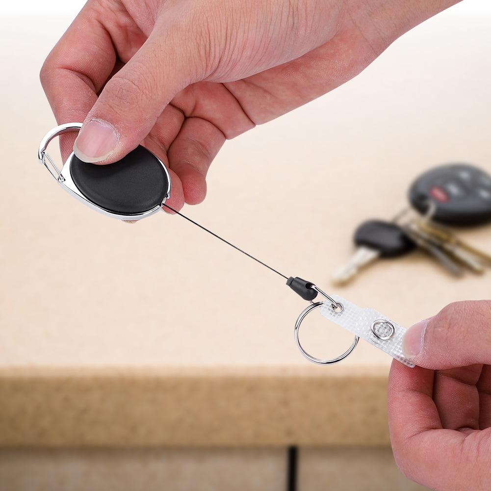 Retractable Key Chain Badge Reel  Carabiner ID Keyring Holder Outdoors