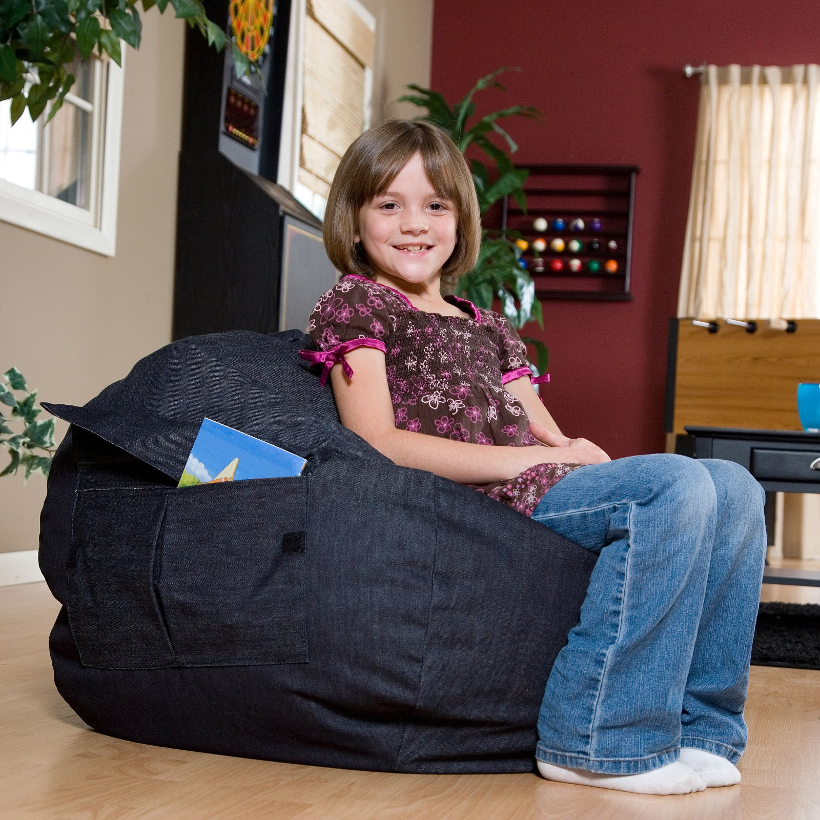 Medium/Tween Denim Look Bean Bag with Cargo Pocket