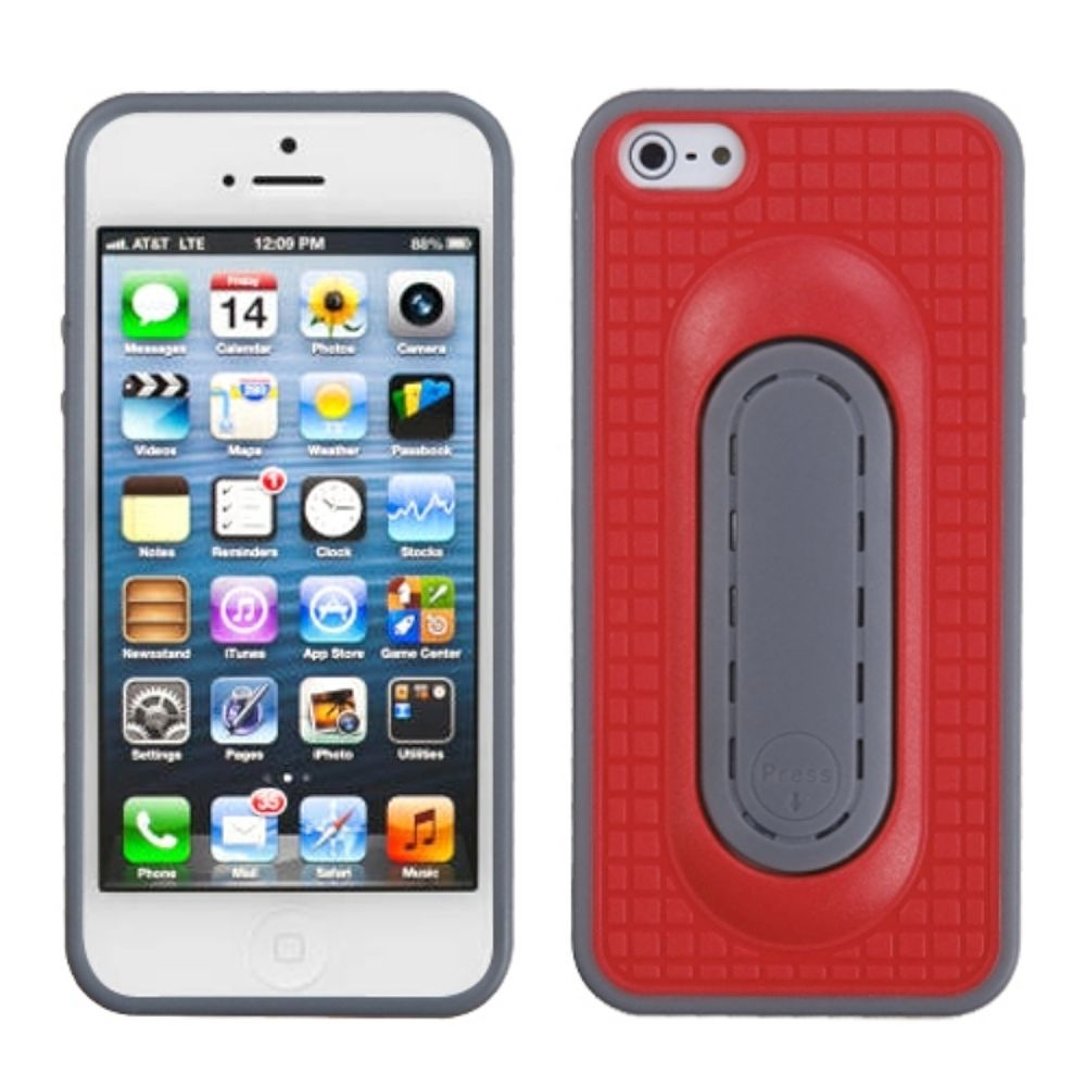 Insten Checker Gel Case w/stand For Apple iPhone 5/5S/SE - Red/Gray