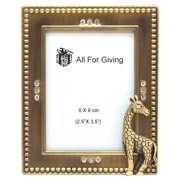 Greatlookz All For Giving Giraffe Picture Frame, 2.5 by 3.5-Inch, Brass