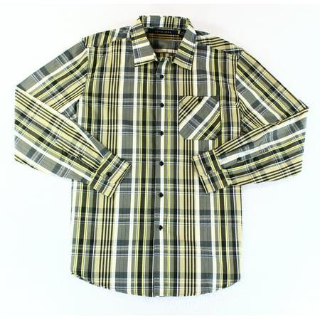 Sean John New Green Mens Size Large L Plaid Pocket Button Down Shirt