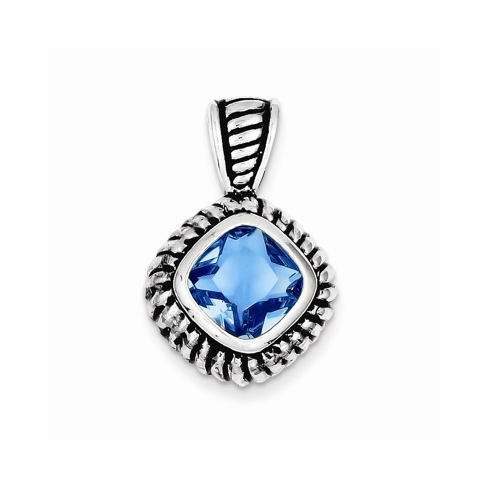 Sterling Silver Antiqued Blue Glass Pendant.