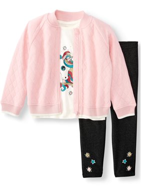 Wonder Nation Bomber Jacket, Graphic T-shirt & Printed Leggings, 3pc Outfit Set (Toddler Girls)