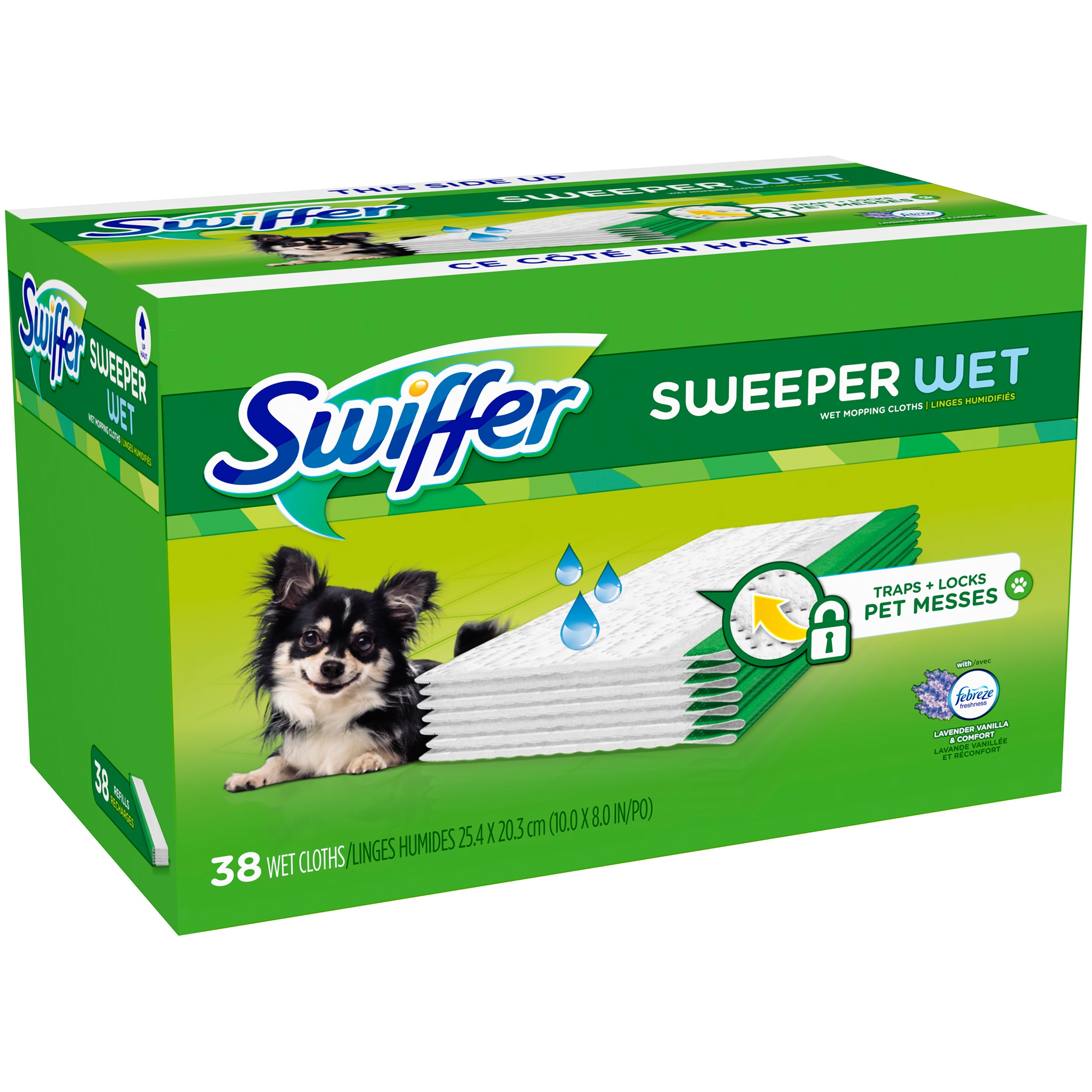 Swiffer with Febreze Lavender Vanilla & Comfort Sweeper Wet Wet Mopping Cloths 38 ct Box