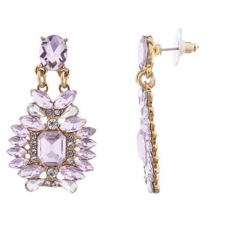 Lux Accessories goldtone Pink Crystal Stone Statement Chandelier - Stone Chandelier Earrings