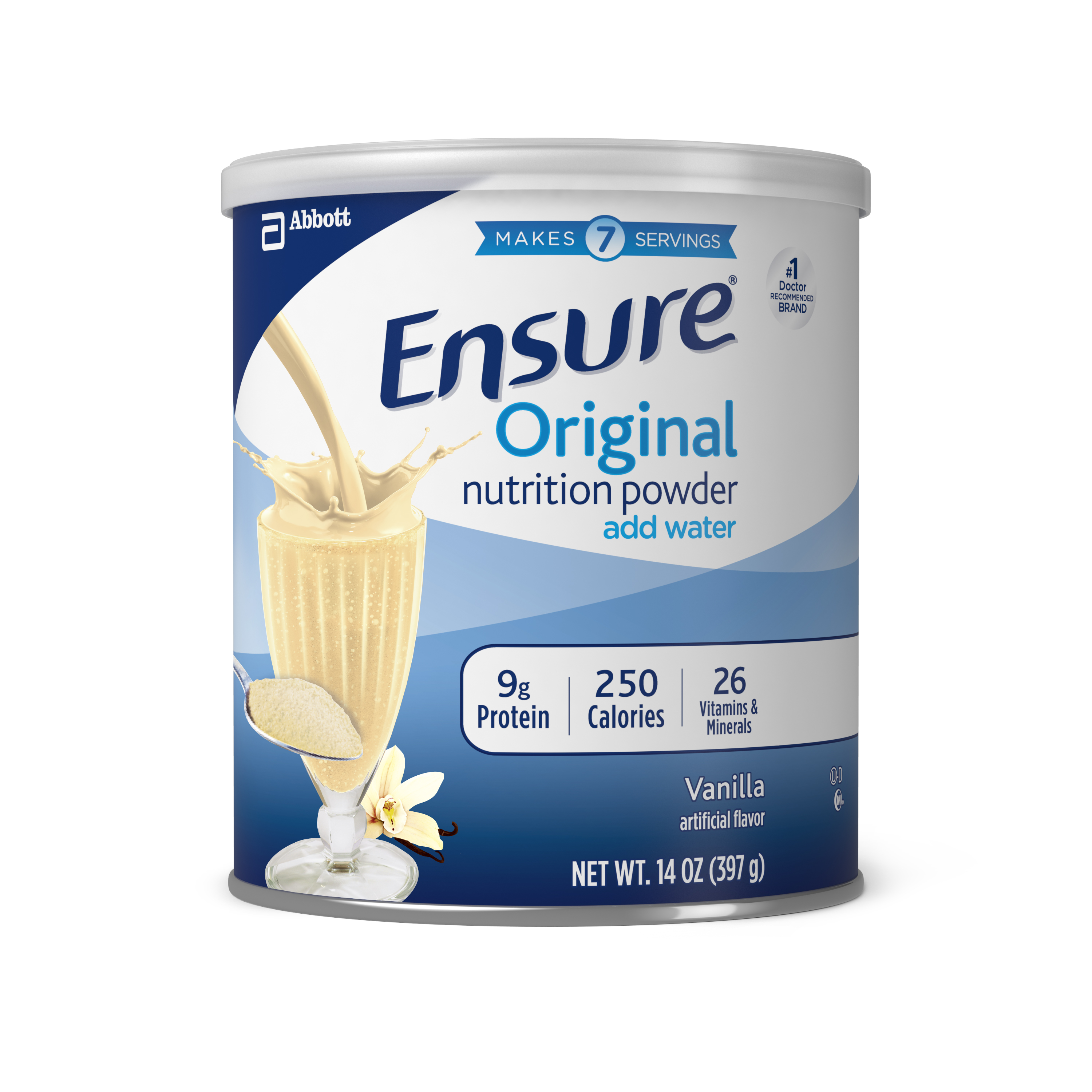 Ensure Original Nutrition Shake Powder with 9 grams of protein, Meal Replacement Shakes, Vanilla, 14 oz