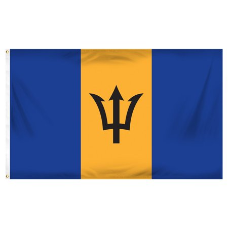 Barbados 3ft x 5ft Printed Polyester (Barbados Flag Stickers)