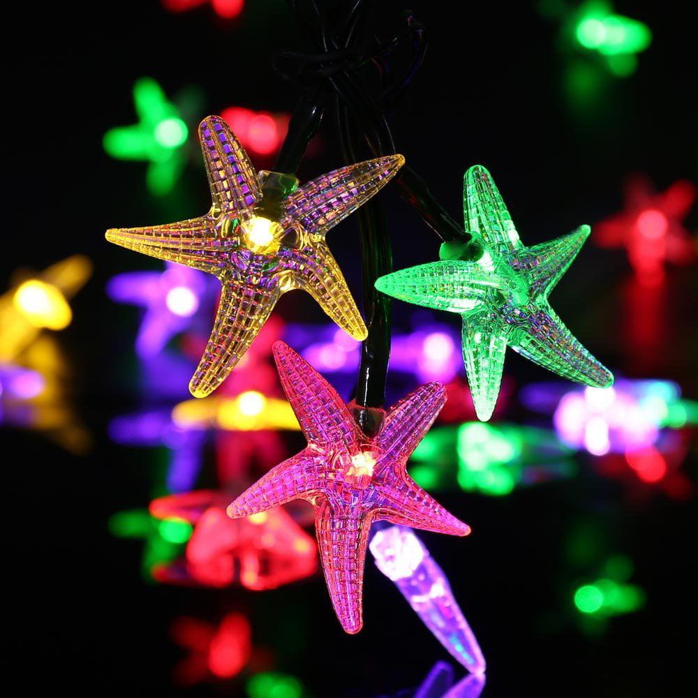 Qedertek Fairy Christmas Lights Starfish Solar String ...