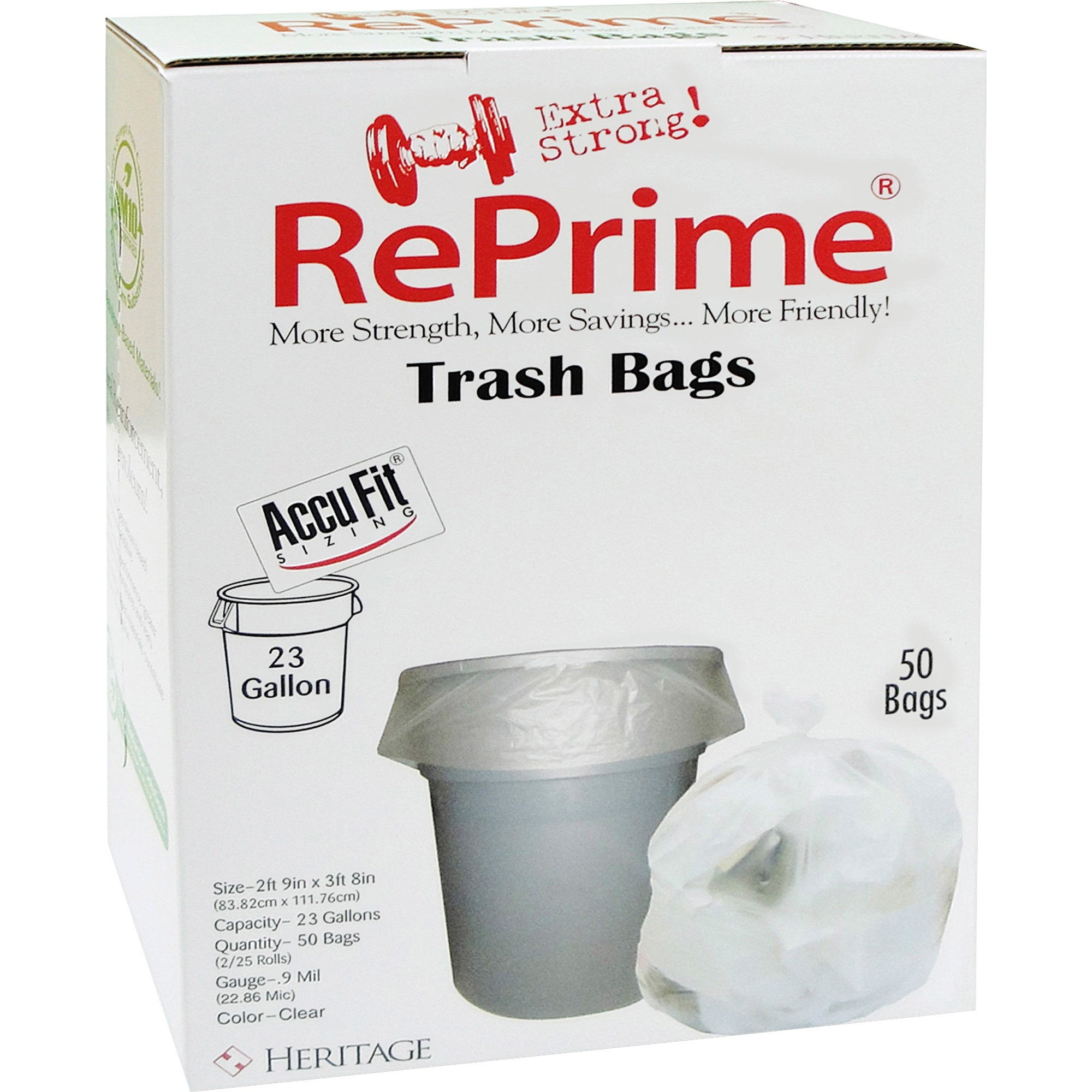 Heritage, HERH5645TCRC1, Accufit RePrime Trash Bags, 50 / Box, Clear, 23 gal