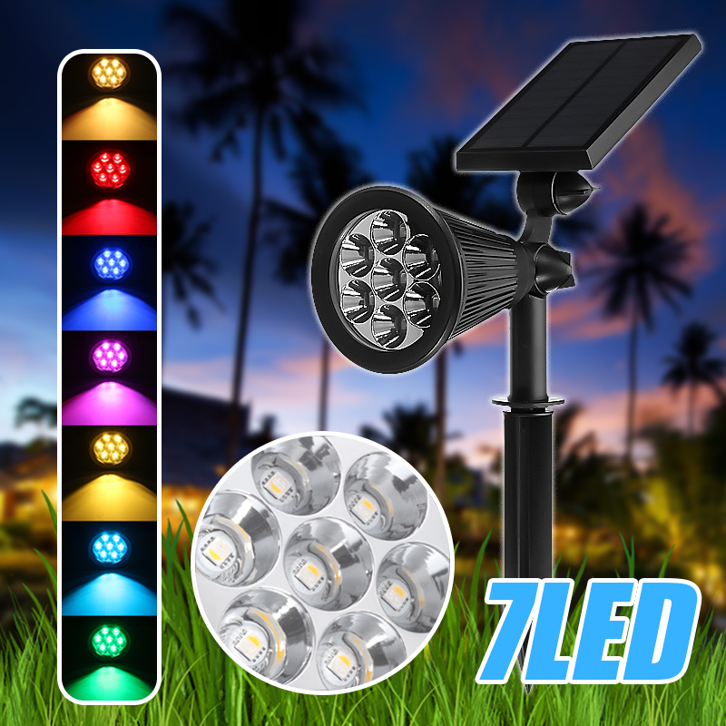 Details about  /7 LED Solar Spot Light Color Changing Wall Outdoor Garden Yard Lamp Waterproof