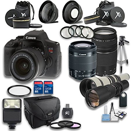 Canon T6i DSLR Camera +18-55mm IS STM Lens +EF 75-300mm f/4-5.6 III Lens + Preset 500mm f/8 Manual Focus Telephoto + 650-1300mm f/8-16 Manual Focus + Accessory Bundle (Certified