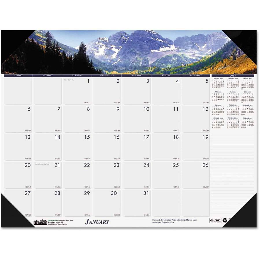 House of Doolittle Recycled Mountains of the World Photo Monthly Desk Pad Calendar, 18.5 x 13, 2017 by HOUSE OF DOOLITTLE