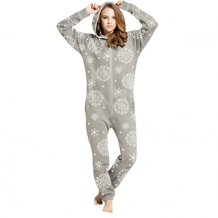 47dd938b41 Skylinewears - SkylineWears Womens Fleece Onesie One Piece Pajama Jumpsuit  Snow Flake Gray Large - Walmart.com