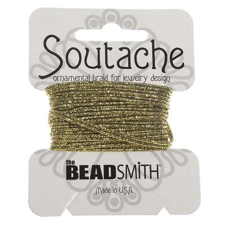 Soutache Cord - BeadSmith Textured Metallic Soutache Braided Cord 3mm - Gold/Black (3 Yards)